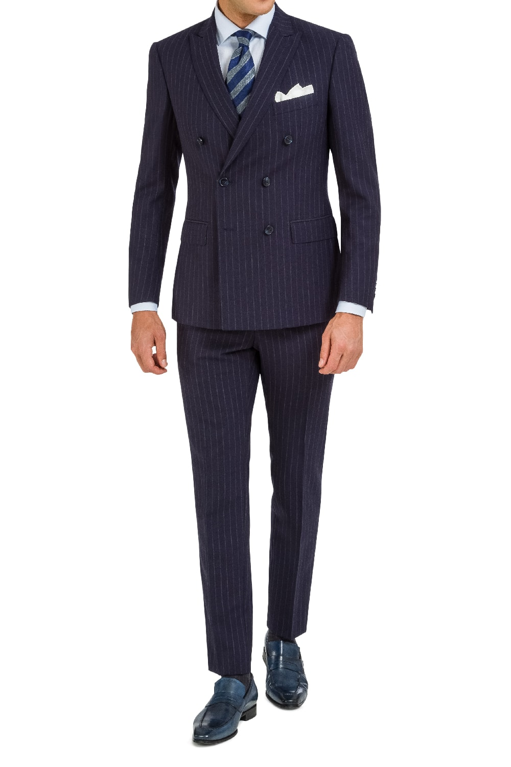 Double-breasted pinstripe suit